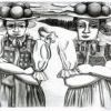 Lithographie Brandstifterinnen II (Bollenhut) 2016 ca 19x27cmgimp