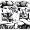 Lithographie Brandstifterinnen III (Bollenhut) 2016 ca 19x27cmgimp_nicht ganzsogross