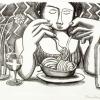 Paul Revellio Spaghettiesserin Lithographie