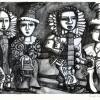 Vier Villinger Narren 2018 Lithographie 18 x 26 cm klein